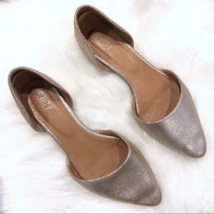 J Jill Silver D'orsay Flats Point Toe